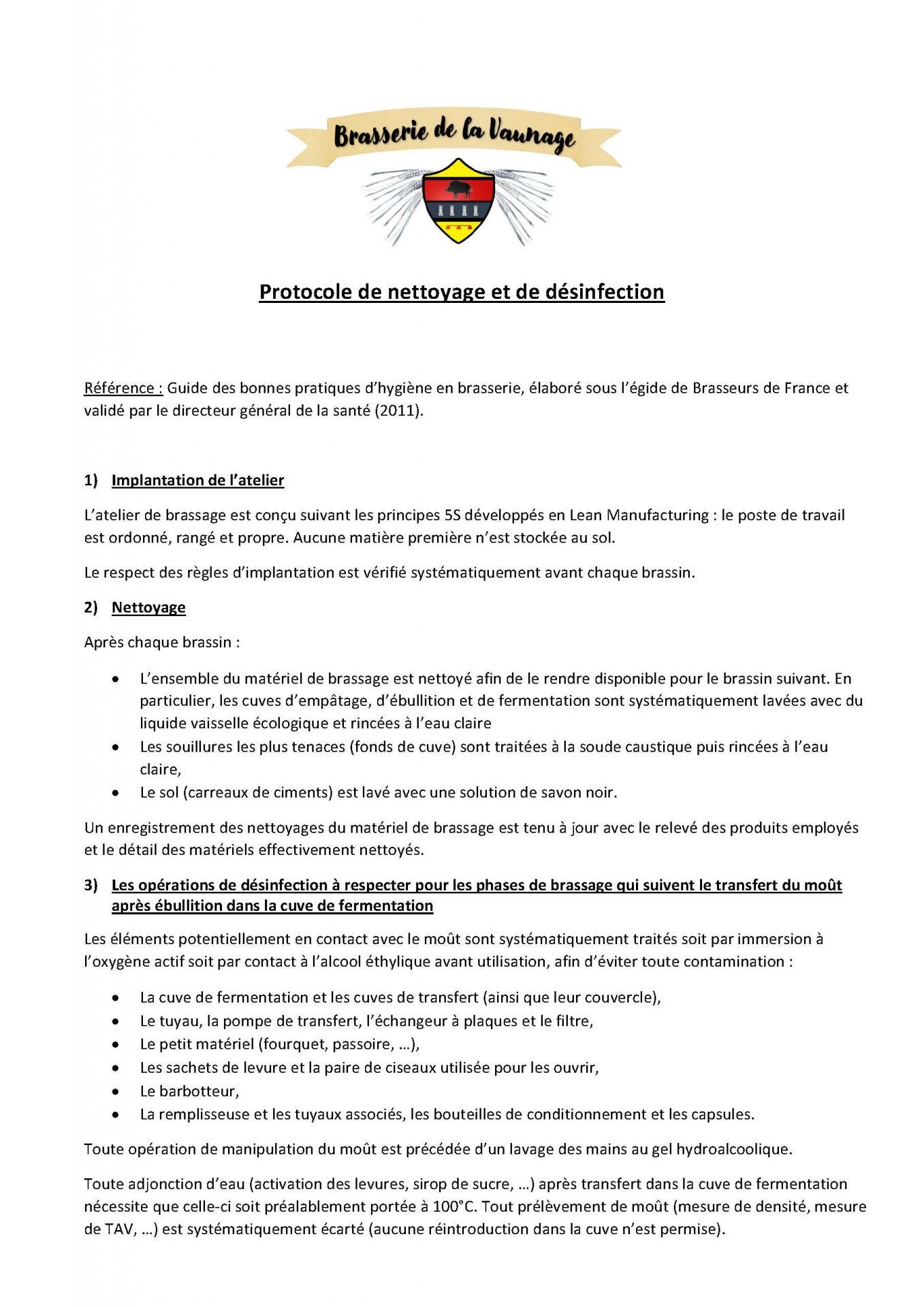 Protocole de nettoyage et desinfection brasserie de la vaunage 3