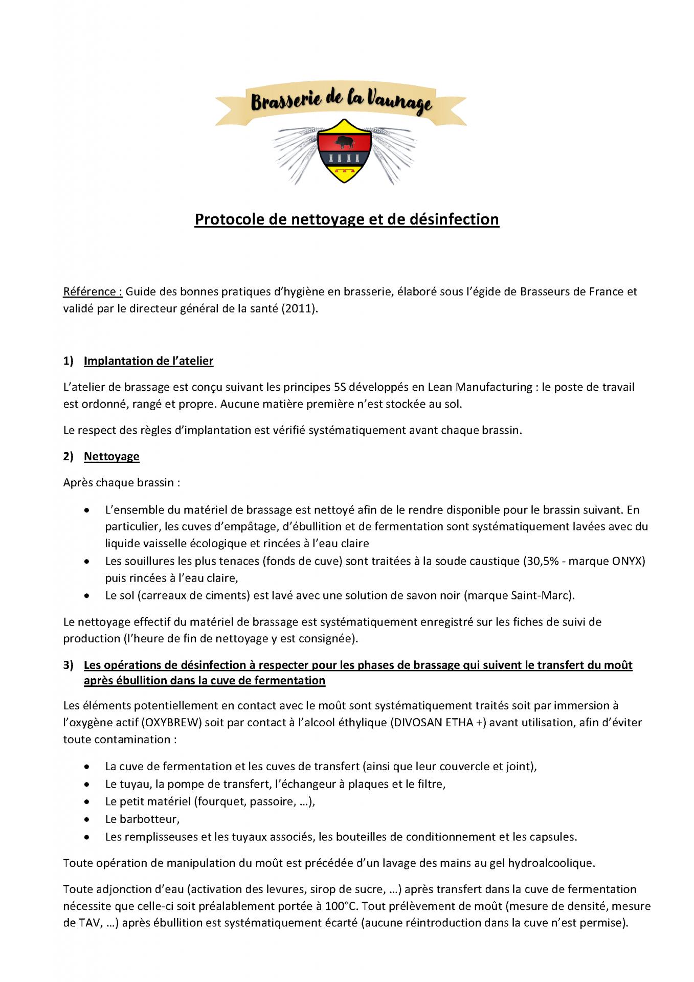 Protocole de nettoyage et desinfection brasserie de la vaunage
